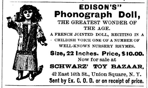 Ad for Edison's talking doll, 1890