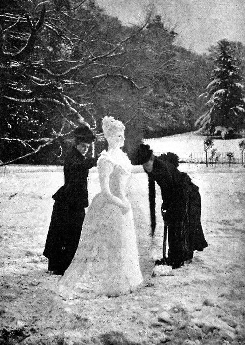Two ladies making a Snow Lady, c. 1892