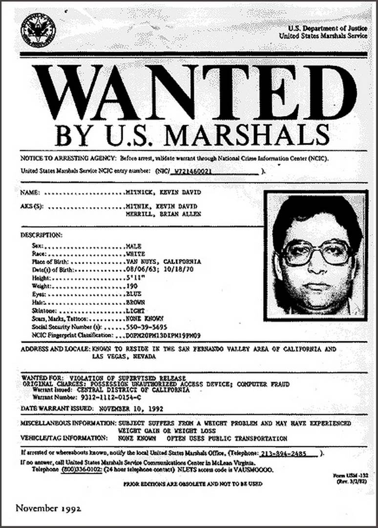Kevin Mitnick's wanted poster.