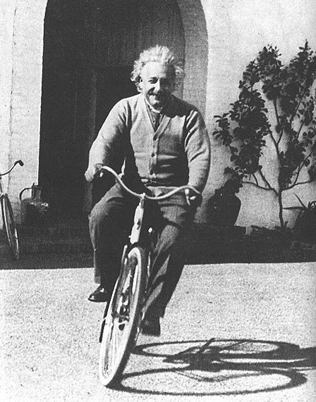 Albert Einstein riding his bicycle in Santa Barbara, 1933