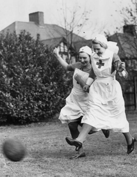 Red Cross nurses playing soccer, 1939