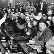 Bar patrons celebrate the end of alcohol prohibition in the US. Dec 5, 1933