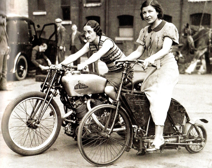 Two ladies riding an 1895 Crank Drive and a 500 New Imperial Twin, November 29, 1935