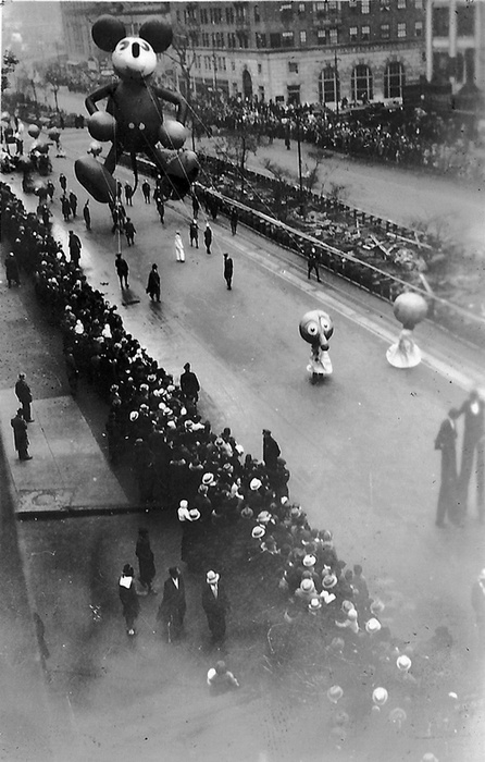 Mickey Mouse's first float in the Macy's Thanksgiving Parade, NYC, 1934.