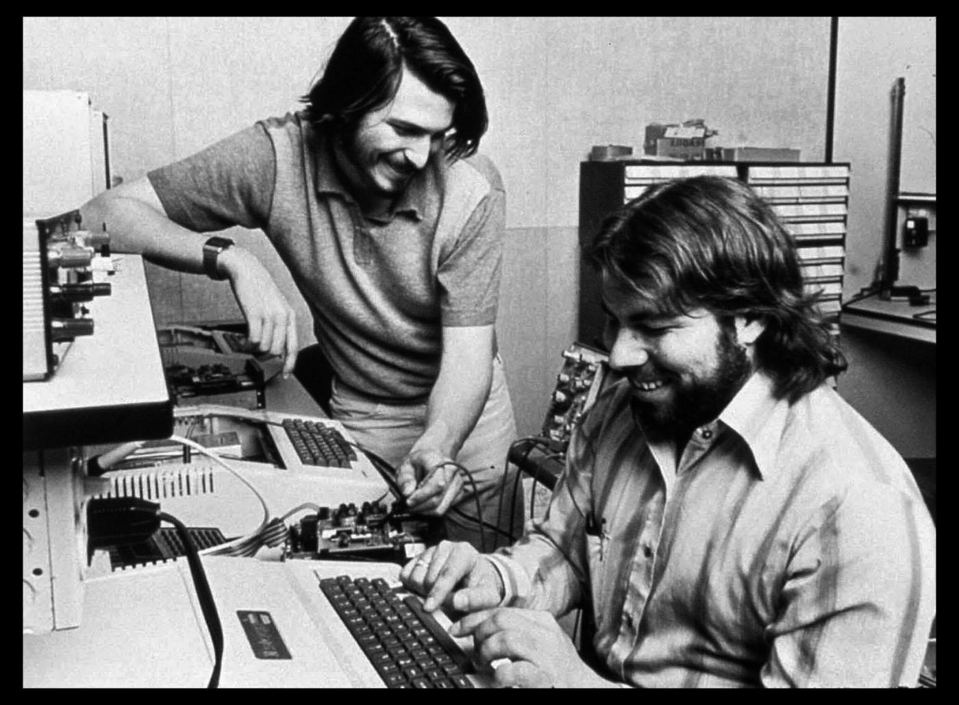 These juvenile delinquent wrecks ended up changing the computer industry.  Apple founders Steve Jobs and Steve Wozniak in 1976, working in an early Apple hq located in the garage of Jobs' parents.