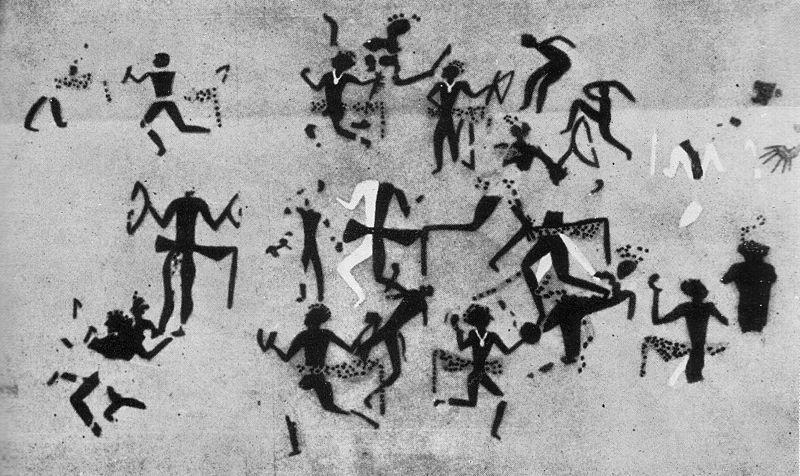 Chatal_Hüyük,_dancers_with_leopard_skins,_6000_BC