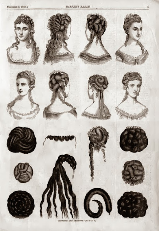 Victorian hairstyles updos, 1867